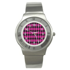 Cell Background Pink Surface Stainless Steel Watch by Simbadda