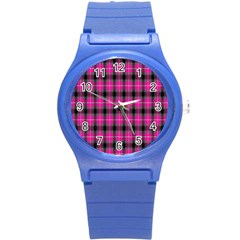 Cell Background Pink Surface Round Plastic Sport Watch (s) by Simbadda