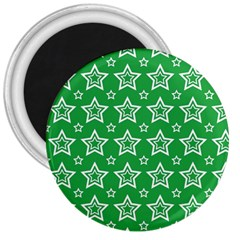 Green White Star Line Space 3  Magnets by Alisyart