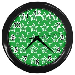 Green White Star Line Space Wall Clocks (black) by Alisyart