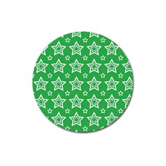 Green White Star Line Space Magnet 3  (round) by Alisyart