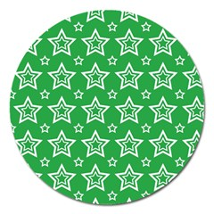 Green White Star Line Space Magnet 5  (round) by Alisyart