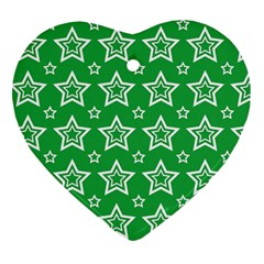 Green White Star Line Space Heart Ornament (two Sides) by Alisyart