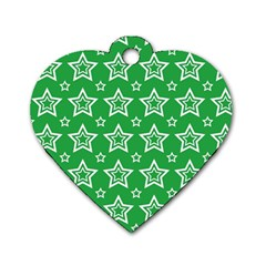 Green White Star Line Space Dog Tag Heart (one Side) by Alisyart