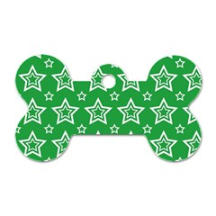 Green White Star Line Space Dog Tag Bone (one Side) by Alisyart