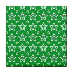 Green White Star Line Space Face Towel by Alisyart