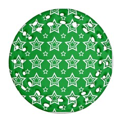 Green White Star Line Space Round Filigree Ornament (two Sides) by Alisyart
