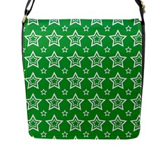 Green White Star Line Space Flap Messenger Bag (l)  by Alisyart