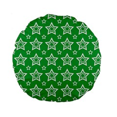 Green White Star Line Space Standard 15  Premium Flano Round Cushions by Alisyart