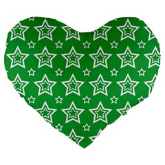 Green White Star Line Space Large 19  Premium Flano Heart Shape Cushions by Alisyart