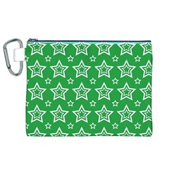Green White Star Line Space Canvas Cosmetic Bag (xl) by Alisyart