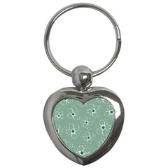 Floral Flower Rose Sunflower Grey Key Chains (heart)  by Alisyart