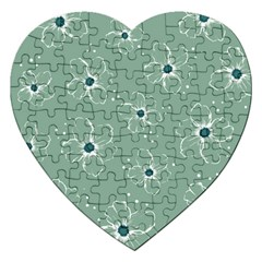 Floral Flower Rose Sunflower Grey Jigsaw Puzzle (heart) by Alisyart