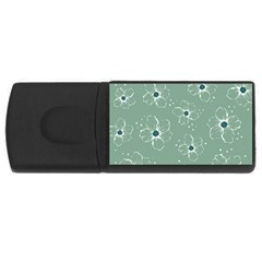 Floral Flower Rose Sunflower Grey Usb Flash Drive Rectangular (4 Gb) by Alisyart