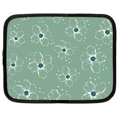 Floral Flower Rose Sunflower Grey Netbook Case (large) by Alisyart