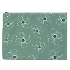 Floral Flower Rose Sunflower Grey Cosmetic Bag (xxl)  by Alisyart