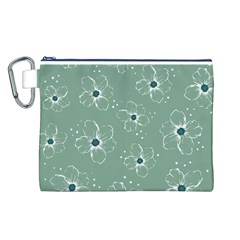 Floral Flower Rose Sunflower Grey Canvas Cosmetic Bag (l) by Alisyart