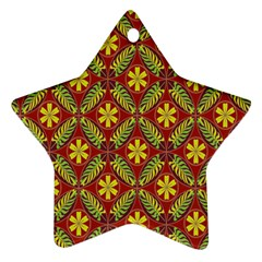 Abstract Yellow Red Frame Flower Floral Ornament (star) by Alisyart
