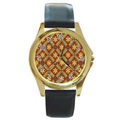 Abstract Yellow Red Frame Flower Floral Round Gold Metal Watch by Alisyart
