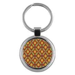 Abstract Yellow Red Frame Flower Floral Key Chains (round)  by Alisyart