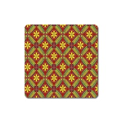 Abstract Yellow Red Frame Flower Floral Square Magnet by Alisyart