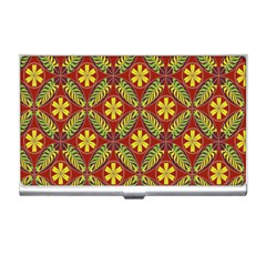 Abstract Yellow Red Frame Flower Floral Business Card Holders by Alisyart