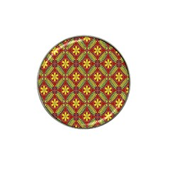 Abstract Yellow Red Frame Flower Floral Hat Clip Ball Marker (4 Pack) by Alisyart