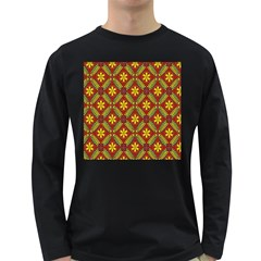 Abstract Yellow Red Frame Flower Floral Long Sleeve Dark T Shirts by Alisyart