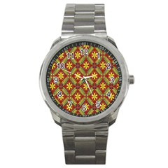 Abstract Yellow Red Frame Flower Floral Sport Metal Watch by Alisyart