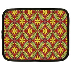 Abstract Yellow Red Frame Flower Floral Netbook Case (large) by Alisyart
