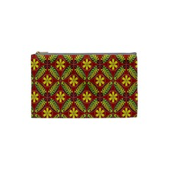 Abstract Yellow Red Frame Flower Floral Cosmetic Bag (small)  by Alisyart
