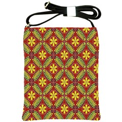 Abstract Yellow Red Frame Flower Floral Shoulder Sling Bags by Alisyart