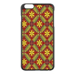 Abstract Yellow Red Frame Flower Floral Apple Iphone 6 Plus/6s Plus Black Enamel Case by Alisyart