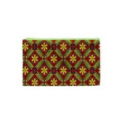 Abstract Yellow Red Frame Flower Floral Cosmetic Bag (xs) by Alisyart