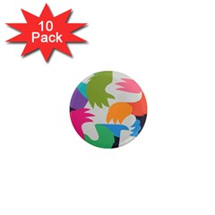 Hand Rainbow Blue Green Pink Purple Orange Monster 1  Mini Magnet (10 Pack)
