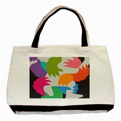Hand Rainbow Blue Green Pink Purple Orange Monster Basic Tote Bag by Alisyart