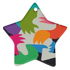 Hand Rainbow Blue Green Pink Purple Orange Monster Star Ornament (two Sides) by Alisyart