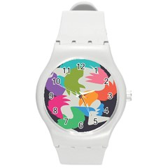 Hand Rainbow Blue Green Pink Purple Orange Monster Round Plastic Sport Watch (m) by Alisyart