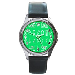 Icon Sign Green White Round Metal Watch by Alisyart