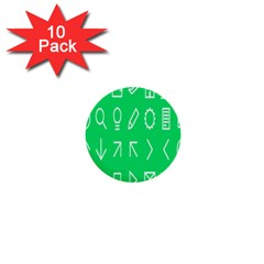 Icon Sign Green White 1  Mini Buttons (10 Pack)  by Alisyart