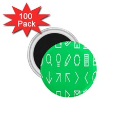 Icon Sign Green White 1 75  Magnets (100 Pack)  by Alisyart