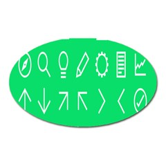 Icon Sign Green White Oval Magnet by Alisyart