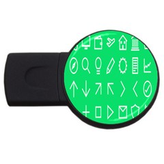Icon Sign Green White Usb Flash Drive Round (4 Gb) by Alisyart
