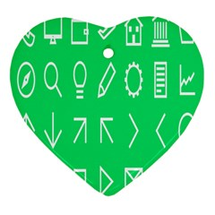 Icon Sign Green White Heart Ornament (two Sides) by Alisyart