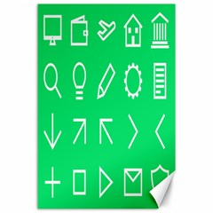Icon Sign Green White Canvas 24  X 36  by Alisyart