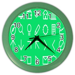 Icon Sign Green White Color Wall Clocks by Alisyart