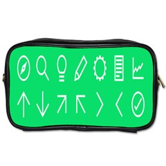 Icon Sign Green White Toiletries Bags 2 Side by Alisyart