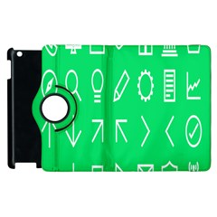Icon Sign Green White Apple Ipad 3/4 Flip 360 Case by Alisyart