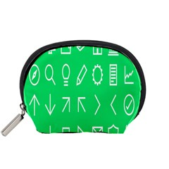 Icon Sign Green White Accessory Pouches (small)  by Alisyart