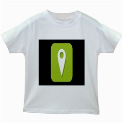 Location Icon Graphic Green White Black Kids White T-Shirts